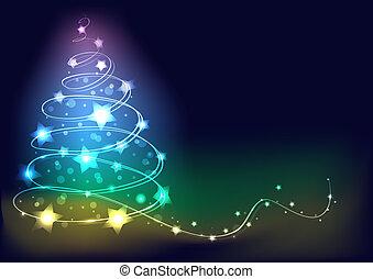 árvore., abstratos, vetorial, natal, ilustração