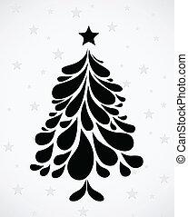 árvore., abstratos, vetorial, natal