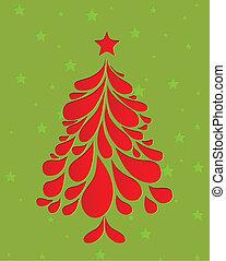 árvore., abstratos, vetorial, natal, vermelho