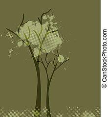 árvore., abstratos, vetorial, verde