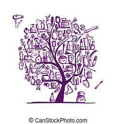 árvore, acessórios, desenho, cosméticos, femininas, seu