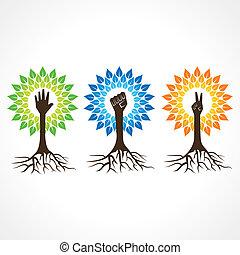 árvore, ajudando, unidade, mão, vitória