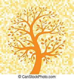 árvore alaranjada, pixel, fundo, ícone