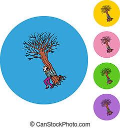 árvore, amarrada