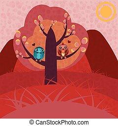 árvore, amor, dois, corujas