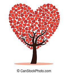árvore, amor, vermelho, corações
