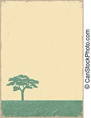 árvore, antigas, papel, grunge, silueta