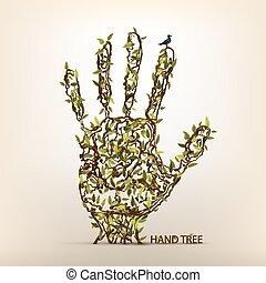 árvore, arte, mão