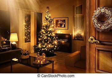 árvore, atrás de, porta, sala, natal