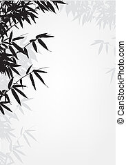 árvore bambu, silueta, fundo