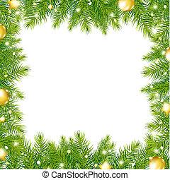 árvore, bola, borda, natal, ouro