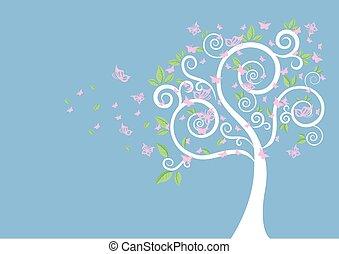 árvore, borboletas, silueta