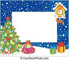 árvore, borda, natal