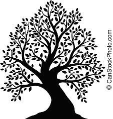 árvore, branca, silueta, fundo