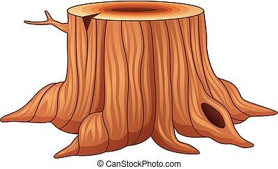 árvore, branca, toco, isolado, fundo