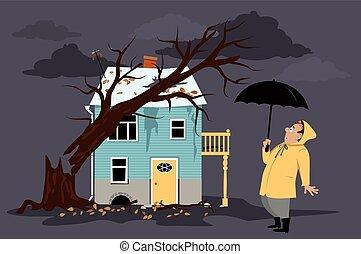 árvore, caído, casa