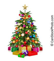 árvore, caixas, brilhante, presente natal