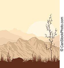 árvore., capim, montanhas, paisagem