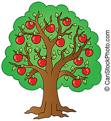 árvore, caricatura, maçã