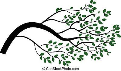 árvore, caricatura, ramo