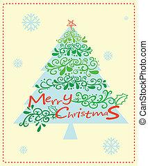 árvore, cartão natal