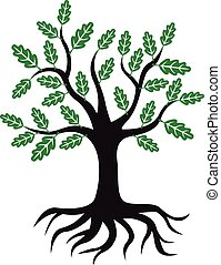 árvore carvalho, ícone, com, verde sai, e, raizes