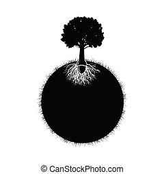 árvore carvalho, silueta