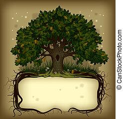 árvore carvalho, wih, um, bandeira