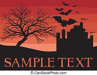 árvore, castelo, morcegos, antigas, pretas