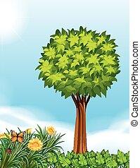 árvore, cena, jardim