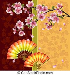 árvore cereja, japoneses, ventiladores, sakura, fundo