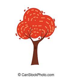 árvore., cidade, coloridos, árvore, parque, isolado, outono, laranja, vetorial, floresta, fundo, outono, amarela, caricatura, paisagem, vermelho