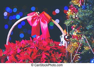 árvore, cintilante, natal, fundo, decorado, obscurecido, fada