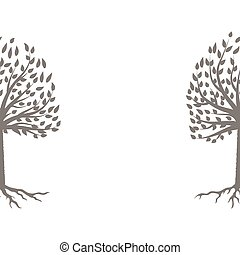 árvore, cinzento, silueta