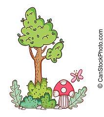 árvore, cogumelo, borboleta, caricatura, ramo