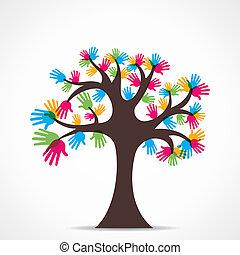 árvore, coloridos, mão