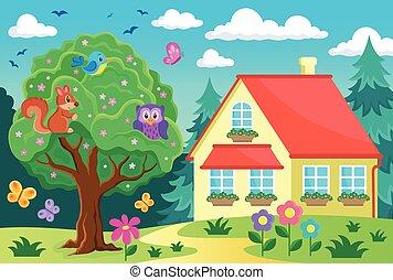 árvore, com, animais, perto, casa