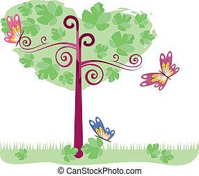 árvore, com, borboletas, 2