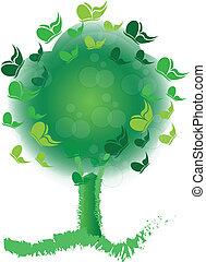 árvore, com, borboletas, flores, logotipo