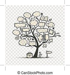 árvore, com, bordas, transparente, fundo