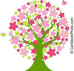 árvore, com, cor, flores