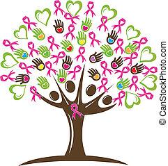 árvore, com, corações, mãos, e, fita
