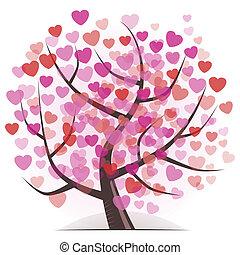 árvore, com, corações