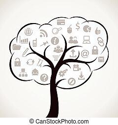 árvore, com, diferente, teia, ícone