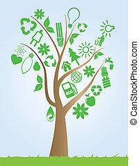 árvore, com, ecologia, símbolos