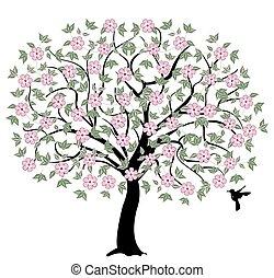 árvore, com, flores côr-de-rosa