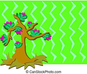 árvore, com, flores, e, fundo
