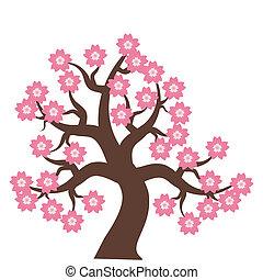 árvore, com, flores