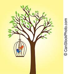 árvore, com, gaiola
