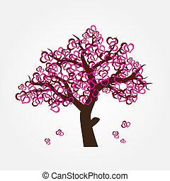 árvore, com, hearths, para, valentine, ou, casório, eps10